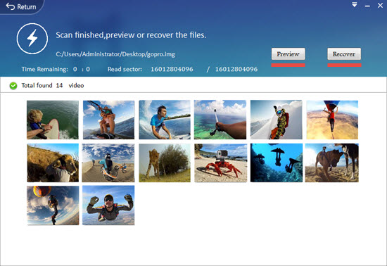 Preview and recover deleted videos from GoPro
